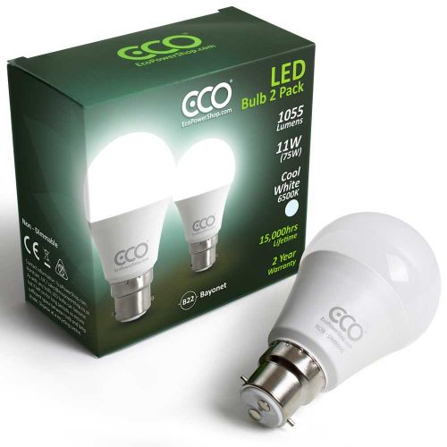ECO 75W LED B22 Bayonet Light Bulbs, Cool White 6500K - 2xPACK
