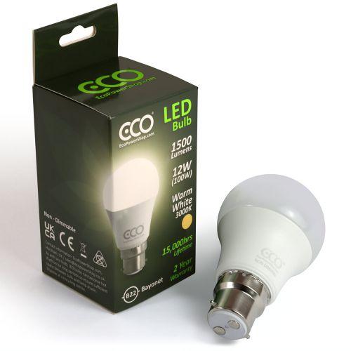 ECO 100W LED Light Bulb, Warm White, B22 Bayonet