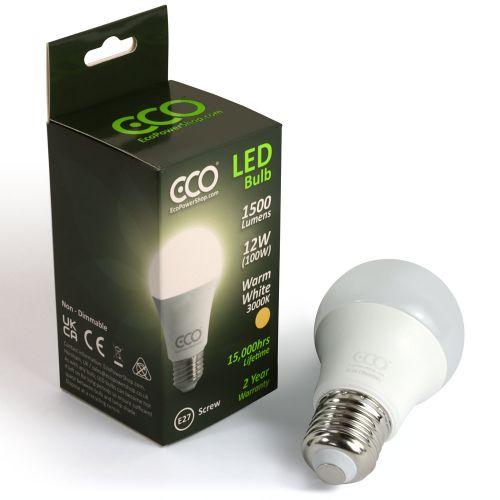 ECO 100W LED Light Bulb, Warm White, E27 Screw