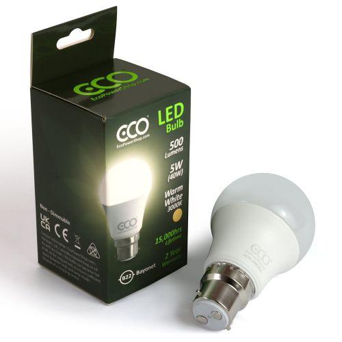 ECO 40W LED Light Bulb, Warm White, B22 Bayonet