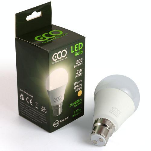 ECO 60W LED Light Bulb, Warm White, B22 Bayonet