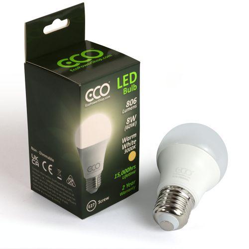 ECO 60W LED Light Bulb, Warm White, E27 Screw