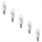 5-PACK of Clear LG LED Candle bulbs 2.7W