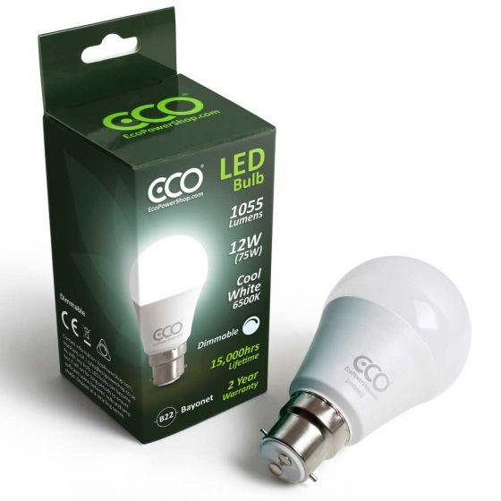 ECO Dimmable 75W LED Bayonet Light Bulb, Cool 6500K