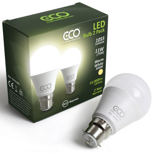 ECO 2 Pin Bayonet B22, 75W LED Light Bulbs, Warm White, 11W LED - 2xPACK