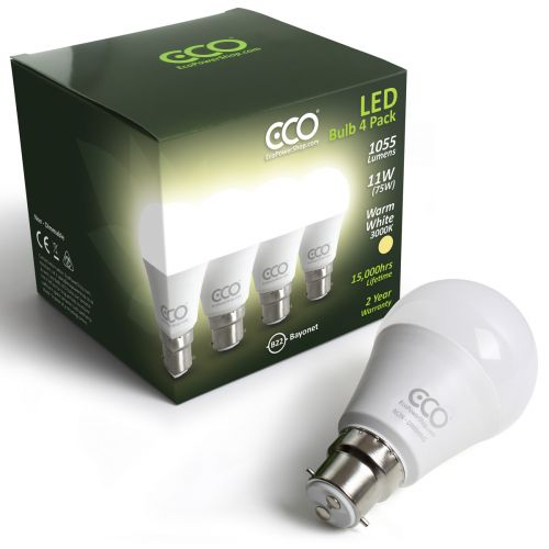 ECO 2 Pin Bayonet B22, 75W LED Light Bulbs, Warm White, 11W LED - 4xPACK