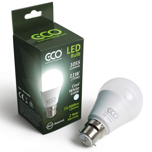 ECO 2 Pin Bayonet B22, 75W LED Light Bulb, Cool White 6500K, 11W LED