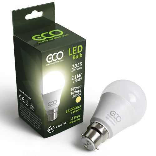 ECO 2 Pin Bayonet B22, 75W LED Light Bulb, Warm White 3000K, 11W LED