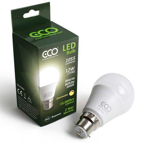 ECO Dimmable 75W LED Bayonet Light Bulb, Warm 3000K