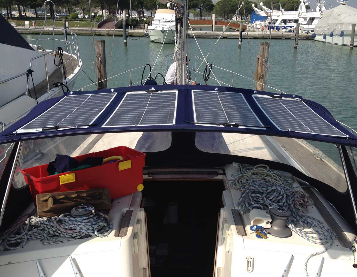 200W SunWare textile solar panel on boat spray hood
